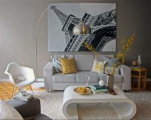 Paris living room decor ideas with grey sofa for Paris themed living room decor