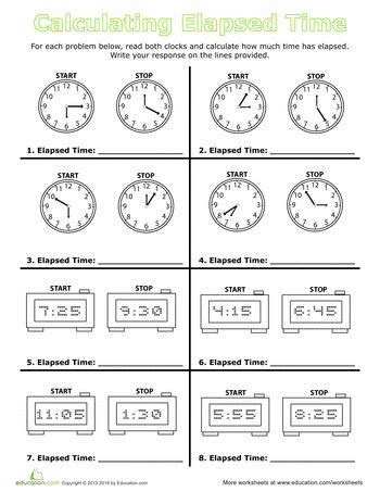 calculate elapsed time  images time worksheets