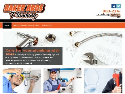baker brothers plumbing home website