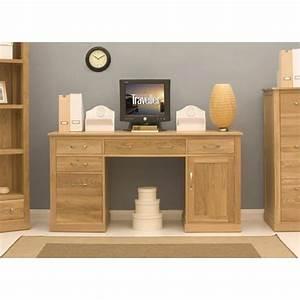 Mobel Oak Double Pedestal Computer Desk