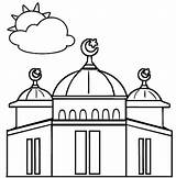 Mosque Coloring Dome Pages Most sketch template