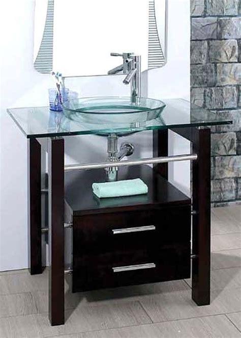 Glass Bathroom Vanity by 28 Quot Bathroom Tempered Clear Glass Vessel Sink Vanity