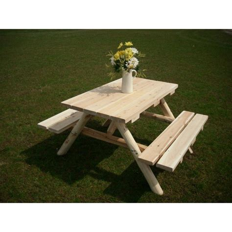 unfinished picnic tables for sale white cedar log picnic table attached benches