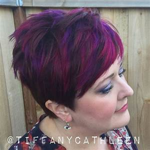 Brown Hair With Light Ash Highlights Pixie Cut With Magenta And Violet Balayage Highlights