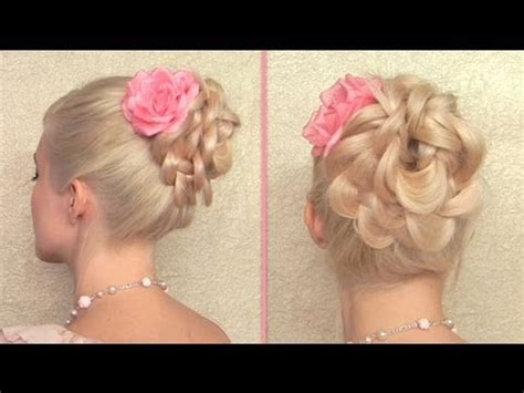 easy prom wedding hairstyle braided flower updo for hair tutorial youtube