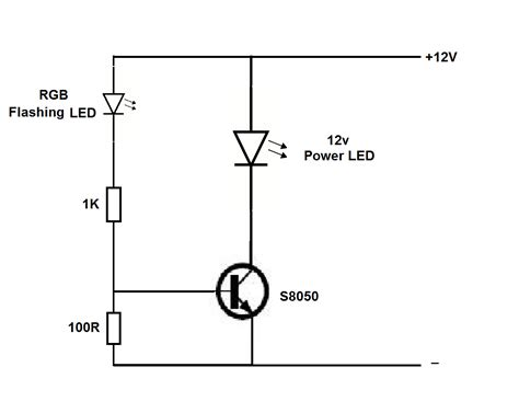 12v power led flasher circuit using rgb led simple projects