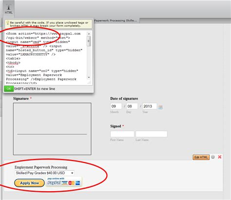 embedded paypal form code does not submit payment