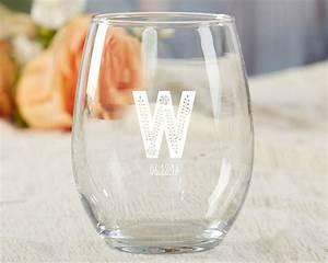 personalized rustic wedding 9 oz stemless wine glass With stemless wine glass wedding favors