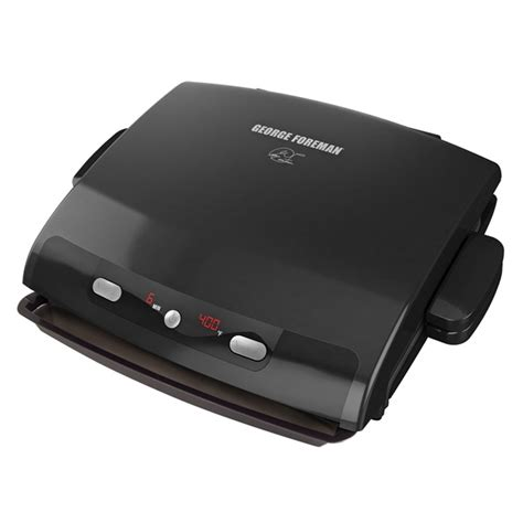 George Foreman 6 Serving Removable Nonstick Plate Countertop Grill by 6 Serving Removable Plate Panini Grill Black George