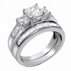2 PCS Women Princess Cut 925 Sterling Silver Wedding
