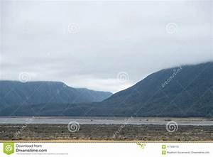 Mountain, Lake, With, Storm, And, Dark, Clouds, New, Zealand, Stock, Photo