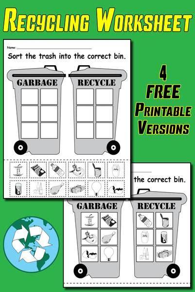 sorting trash earth day recycling worksheets 4 free printable versi supplyme