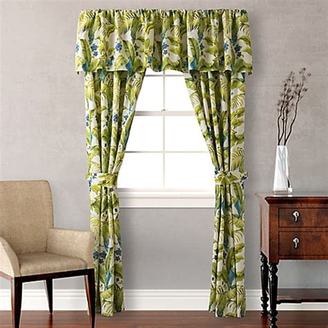 tommy bahama blue palm window curtain panels  valance