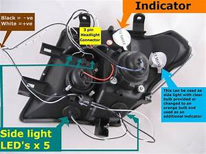 Black Led Projector Headlights For Nissan Navara D40    Pathfinder Headlamps New