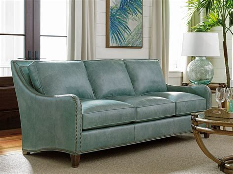 tommy bahama home twin palms leather sofa reviews wayfair