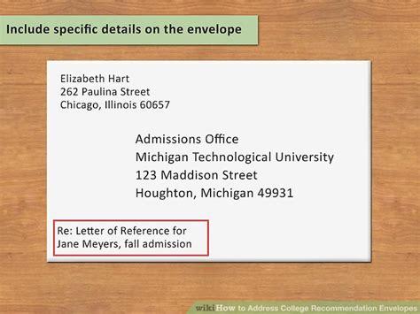 address college recommendation envelopes  steps