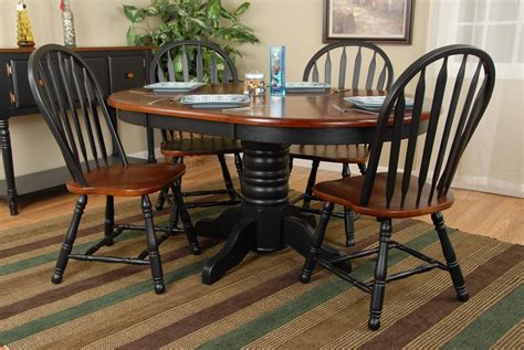 classic two tone wood dinette set wood pedestal