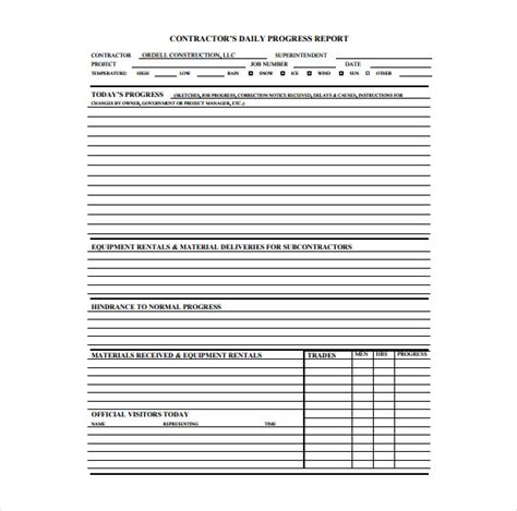 Construction Subcontractor Daily Report Template by 19 Daily Construction Report Templates Pdf Doc Free