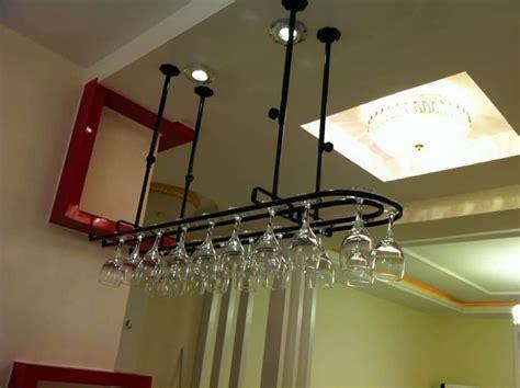 Modern Hanging Metal Wall Art Sculpture Contemporary: Modern Metal Hanging Wine Glass Rack