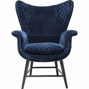 Fauteuil Rtro En Velours Bleu Tudor Kare Design