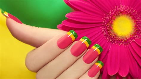 colorful minimalism flowers fingers nails depth of field pink nails shiny