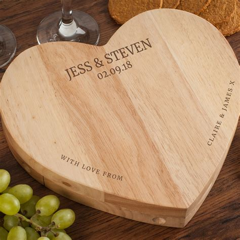 personalised heart shaped wooden cheeseboard set