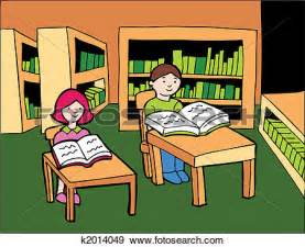 Kids Reading in Library Clip Art