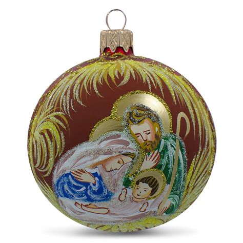 religious christmas ornaments 3 25 quot holy family admires jesus nativity ukrainian glass ornament
