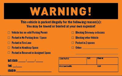 parking violation warning stickers  ticketcom