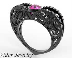shaped wedding rings bridal set pink sapphire shaped engagement ring in black gold vidar jewelry unique custom