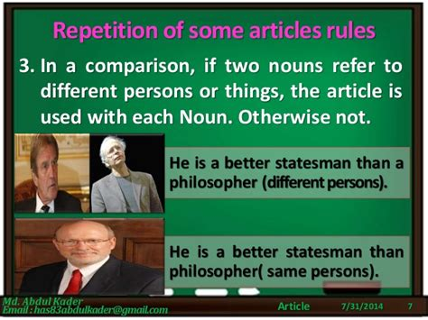 Articles (part7 Of 7) Repetition Of Some Article Rules