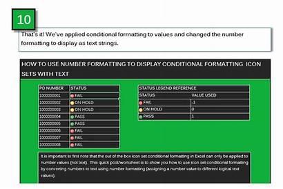 Excel Icon Text Sets Format Custom Formatting