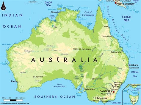 large physical map  australia  major cities