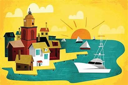 Lake Port Clip Town Illustrations