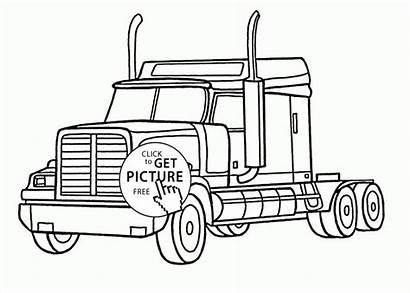 Coloring Semi Truck Realistic Peterbilt Pages Transportation