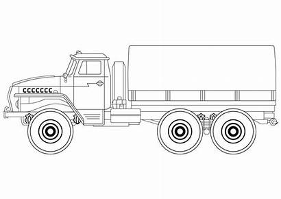 Army Coloring Truck Pages Drawing Vehicles Printable