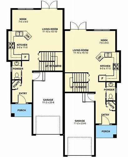 Duplex Narrow Plan Plans Lot Floor Garage