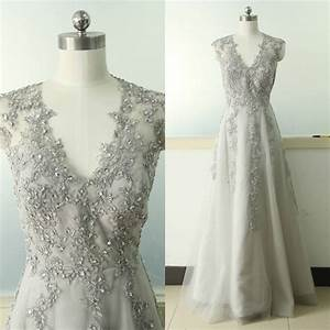 gray a line lace applique wedding dress v neck bridal With gray dresses for wedding