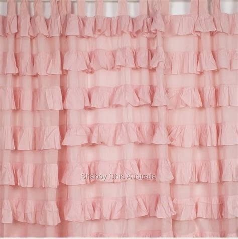 Pink Ruffle Curtains Uk by Shabby Petticoat Ruffle Curtains Drapes Sheer Pink