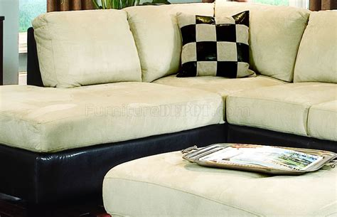 Contemporary Microfiber Sectional Sofa by Beige Microfiber Contemporary Sectional Sofa W Vinyl Base