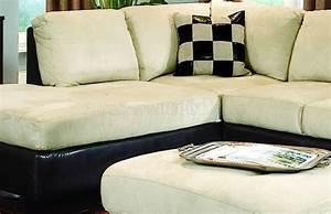 Beige microfiber contemporary sectional sofa w dark vinyl base for Dark beige sectional sofa