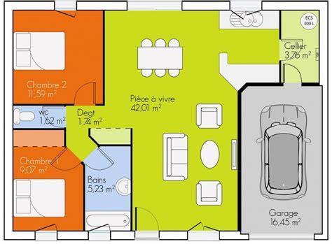 plan maison plain pied 3 chambres gratuit plan maison 2 chambres plain pied gratuit