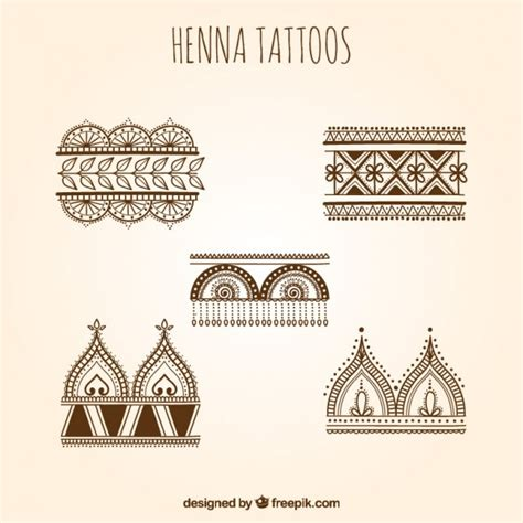 henna tattoos set vector free
