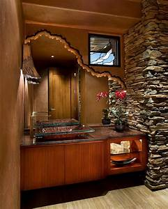 Blooming Unique Bathroom Mirrors With Stone Wall Small