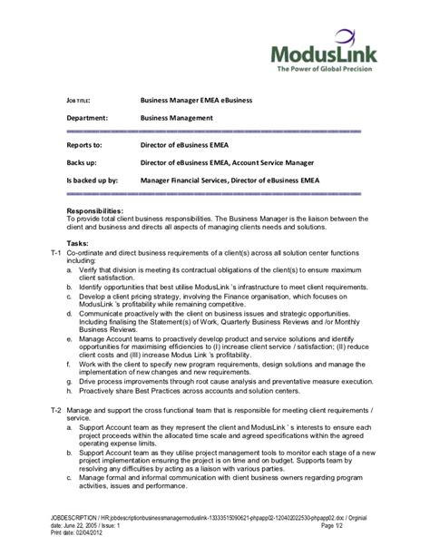 19948 resume templates free description business manager moduslink