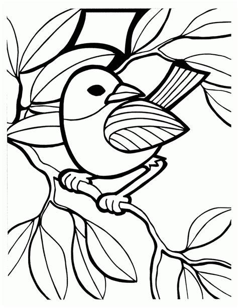 mewarnai gambar burung bertengger di ranting
