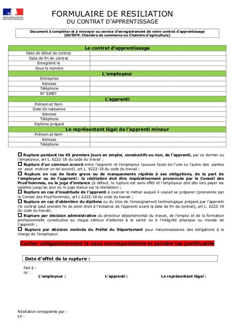 modèle rupture contrat apprentissage rupture contrat dapprentissage