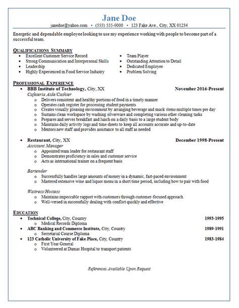 example of restaurant resume restaurant server resume example cashier bartender