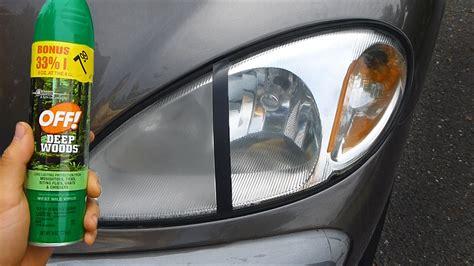 using bug spray to clean headlights warning