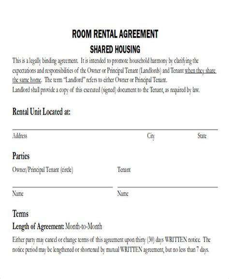 room rental agreement template 8 room rental agreement form sles sle templates